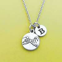 Personalized, Letter, Coin, Initial, Pinky, Promise, Silver, Necklace, Custom, Alphabet, Letter, Lover, Friends, Christmas, Gift, Jewelry