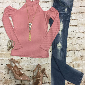 Cold Shoulder Ribbed Top: Rose