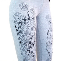 Cacti and Succulents Heather Gray Jersey Leggings