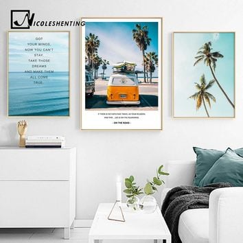 Tropical Sea Palm tree Bus Landscape Wall Art Canvas Poster Nordic Motivational Prints Painting Wall Picture for Living Room