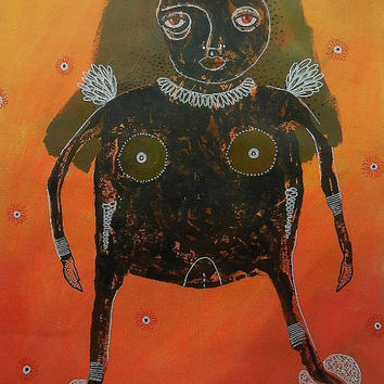 Primitive Nude Painting Modern Art Orange Black Outsider Art Woman Abstract Surreal Female Figurative Decor Oranges