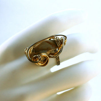 Vintage Ring Wire Wrap Large Stone Adjustable Ring