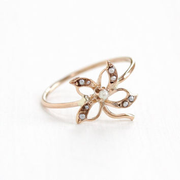 Antique Art Nouveau 10k Rose Gold Seed Pearl Flower Ring - Vintage Early 1900s Edwardian Stick Pin Conversion Fine Floral Motif Jewelry