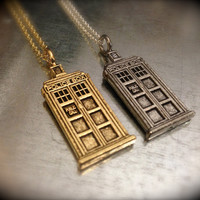 UK Police Phone Booth Silver and Gold Tone Charmed Interpreted Necklace