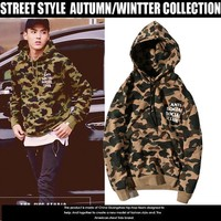 Camouflage Hoodies Couple Simple Design Alphabet Pullover Jacket [17370415123]