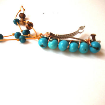 Teal Blue Acai Seed Bead Hair Clip with Extensions, Eco-Friendly Vegan Vegetarian, Boho Chic