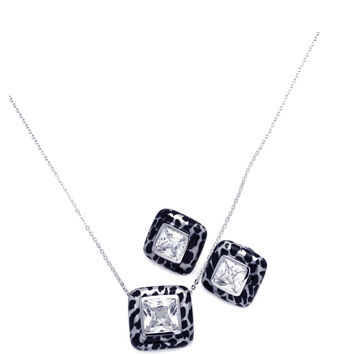 .925 Sterling Silver Rhodium Plated Square Leopard Print Clear Cubic Zirconia Stud Earring &  Necklace Set: SOD