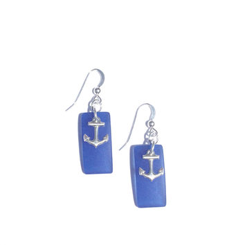 Cultured Sea Glass Earrings with Anchor in Cobalt Blue