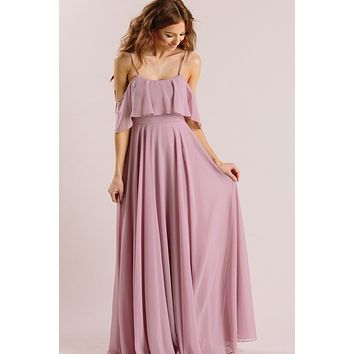Adele Lavender Ruffle Maxi Dress