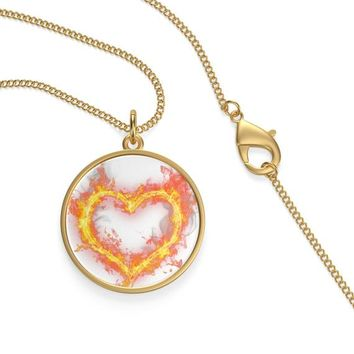 fire of love Single Loop 18k gold plated Necklace, valentine's day, gift for wife,gift for daughter, wedding anniversary