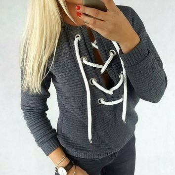 Women V-Neck Long-Sleeved Sweater