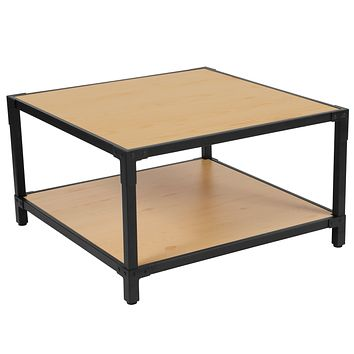Holmby Collection Wood Grain Finish Coffee Table with Metal Legs