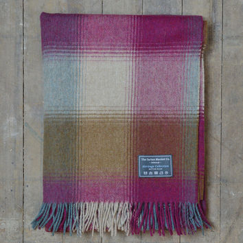 Heritage Merino Blanket in Pink and Rust Patchwork