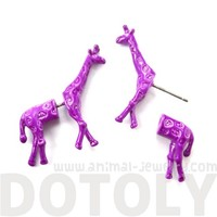 3D Fake Ear Gauge Realistic Giraffe Animal Stud Earrings in Purple
