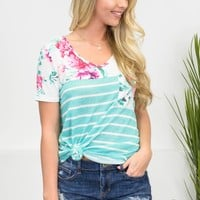 Mint Block Floral Top