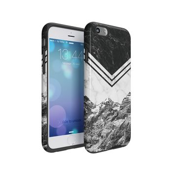 Icy Mountains White & Black Marble Blocks Hard Plastic Shell & TPU Bumper Double Layer Tough Phone Case For Apple iPhone 6 Plus & iPhone 6s Plus