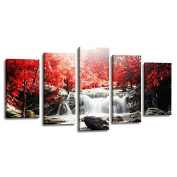 5-Piece Red Woods Waterfall Canvas Print Paintings for Wall and Home Décor