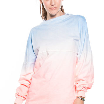 LONG SLEEVE OMBRE  FOOTBALL TEE