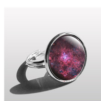 STAR RING NEBULA Adjustable ring turquoise blue pink Nebula Solar System Planet Ring, Space Jewelry, Galaxy Ring. Gift for Girl or sister.