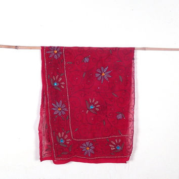 Small Red Chiffon Embroidered Scarf