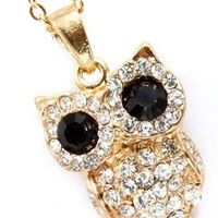 Gorgeous Clear Crystal Embellished Owl Pendant and Necklace Gold Overlay