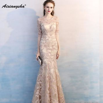 Sexy Double Scoop Champagne Short Sleeves Evening Dresses 2018 Tulle with Lace Appliques Mermaid Prom Dress Women Party Gowns