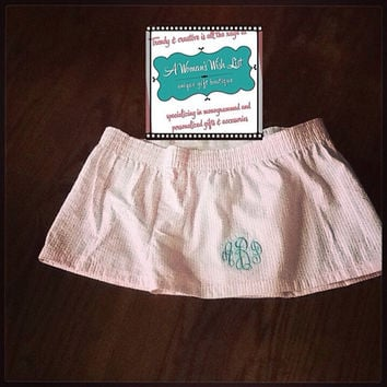 Monogram Seersucker Boxers, Seersucker Lounge Boxers, Seersucker Beach Boxers, Seersucker Bridal Party Wedding Day Boxers