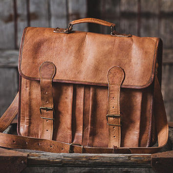 "Leather Briefcase 18"" / Leather Messenger Bag / Laptop Bag / Handbag / Satchel / Hip Bag / Shoulder Bag / Cabin Travel Bag"