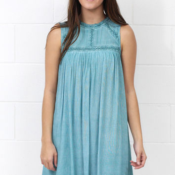 Mineral Washed + Lace Trimmed Tank Shift Dress {Dusty Jade}