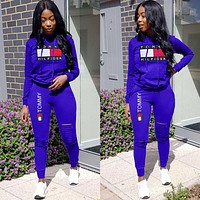 Tommy Hilfiger Women Casual Print Top Pants Trousers Set Two-Piece Sportswear Blue
