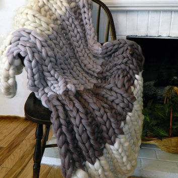 Springtime Chunky Throw, Pure Merino, 3 color, Hand Knit, Giant Knit