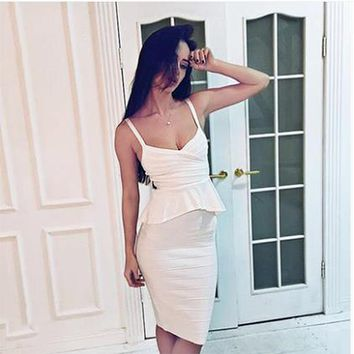 2017 Newest Winter Bandage Dress Women Celebrity Party Spaghetti Strap V-Neck 2 Two Piece Set Sexy Dress Women Bodycon Vestidos