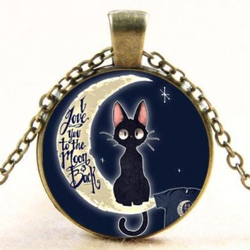 """Vintage """"I Love You to the Moon and Back"""" Art Glass Pendant Necklace Jewelry Necklace For Women drop shopping YLQ0935"""