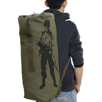 Outdoor Tactical Military Travel Sports Luggage Bag Mountain Trekking Canvas Rucksacks  Gym Backpack Double Shoulder Bucket Bags