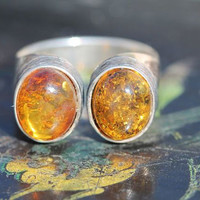 Vintage 925 Sterling Silver Modernistic Baltic Amber Ring