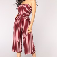 Across The Pond Striped Jumpsuit - Burgundy/White