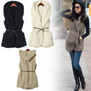 Women Winter Warm Faux Fur Vest Sleeveless Coat Outerwear Jacket Waistcoat Belt D_L = 1930091780