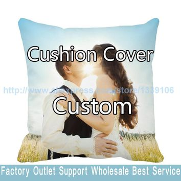 Your Image Here Printed Custom Cushion Cover Wedding Pets Gift Personal Photos Decorative Pillow Case Funda Cojines