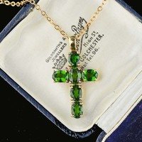 Gold 4.65 Peridot Cross Necklace
