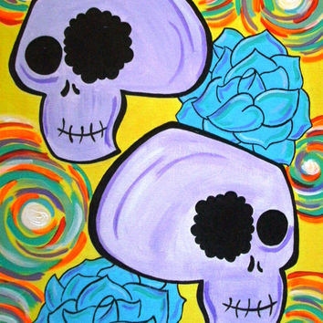 Custom Colorful Skulls with Painting with Choice of Flowers, Swirls, Circles 9x12 or 11x14 Acrylic Canvas Painting, Wall Decor, Alternative