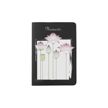 Pink Lotus Flower Namaste Elegant Modern Custom Passport Holder