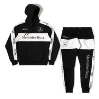 Club Foreign Sports Suit Merc Embroidered Hoodie and Sweatpants in Black