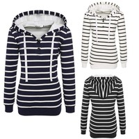 3 Color 5 yards Europe and the United States wish hot new style women fashion striped hooded sweater