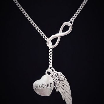Guardian Angel Wing Brother Infinity In Memory Heaven Y Lariat Necklace