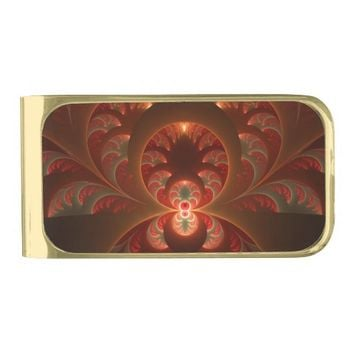Luminous abstract modern orange red Fractal Gold Finish Money Clip