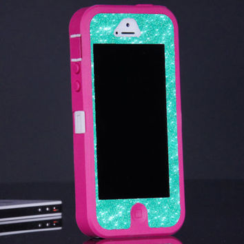 Pink iPhone 5 Otterbox Custom Defender Case - Wintermint Glitter Otterbox iPhone 5 Case - Sparkly Glitter Bling iPhone 5 Cover