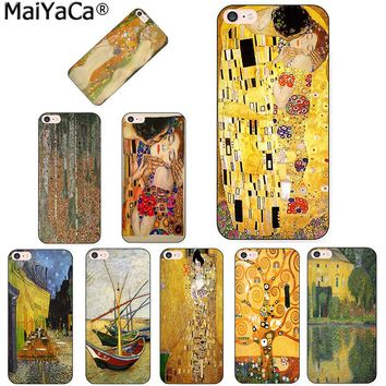 MaiYaCa the kiss Gustav Klimt Painting Frida Kahlo black tpu Phone case cover for iPhone 8 7 6 6S Plus X 5s SE 5C case Shell