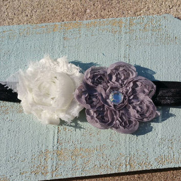 Shabby Flower Rhinestone Headband/ Chic Headband/ Grey Flower Headband/ Grey and White