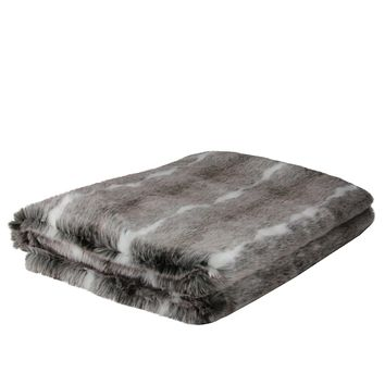 "Lovely Rustic White and Gray Faux Fur Super Soft Throw Blanket 50""x60"""