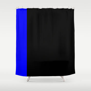 Royal Blue Tuxedo Stripe Shower Curtain by Kat Mun